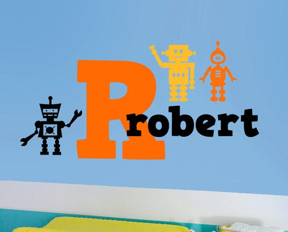 Robots Initial Name Kids Vinyl Wall Decal Sticker