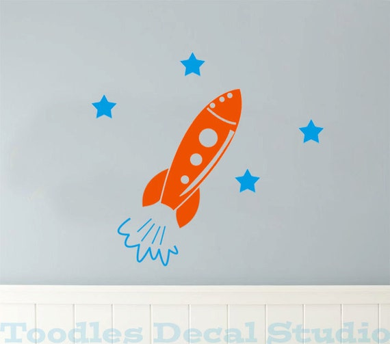 Rocket ship with stars Vinyl kids Wall Decal Sticker - small