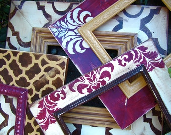 Set of Four 8x10's Handmade-Distressed -Trellis-Cottage Damask- Moroccan- Any Size-Any Color- Custom