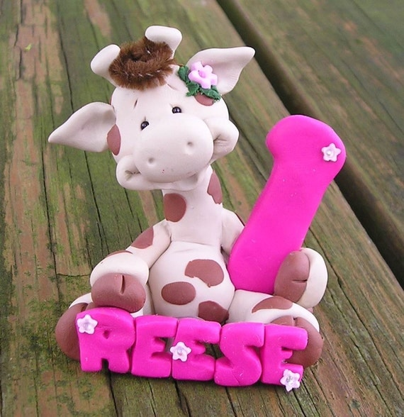 Animal with NAME and NUMBER cake topper 2-3 inches tall