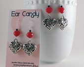 Silver Filigree Hearts with magenta chalcedony earrings