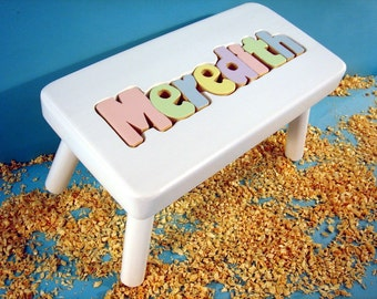 Personalized Puzzle Stool White Finish
