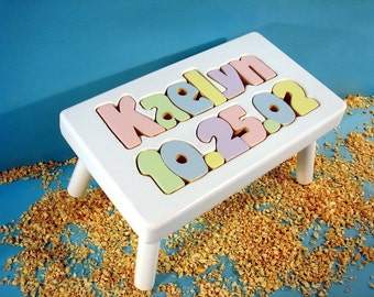 Name and Birthday Stool with White Finish 1 to 8 letters