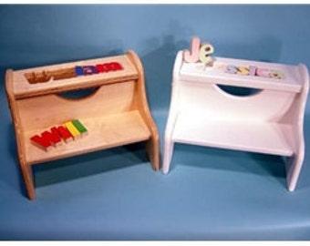 Personalized Puzzle Stool White Finish By Cubbyholetoys On
