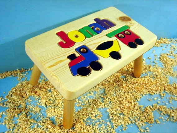 Personalized Wood Train Step Stool
