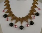 Pink Topaz and Smoky Quartz Necklace   10903
