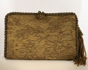 Antique Bronze Lace Clutch  8706
