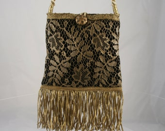 Antique Gold Metallic Lace Handbag  9595