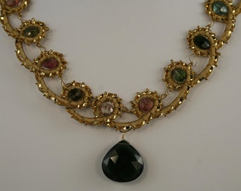 Multicolored Tourmaline Necklace with large dark green Crystal Briolette  10937
