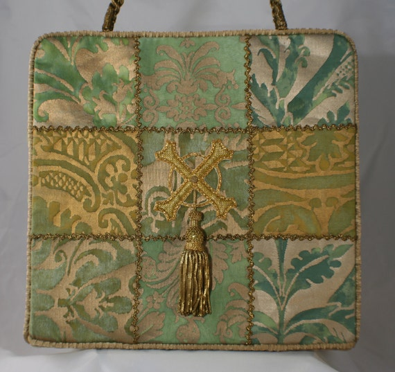 Forest Green Fortuny Tote with Antique Embellishments  6520C