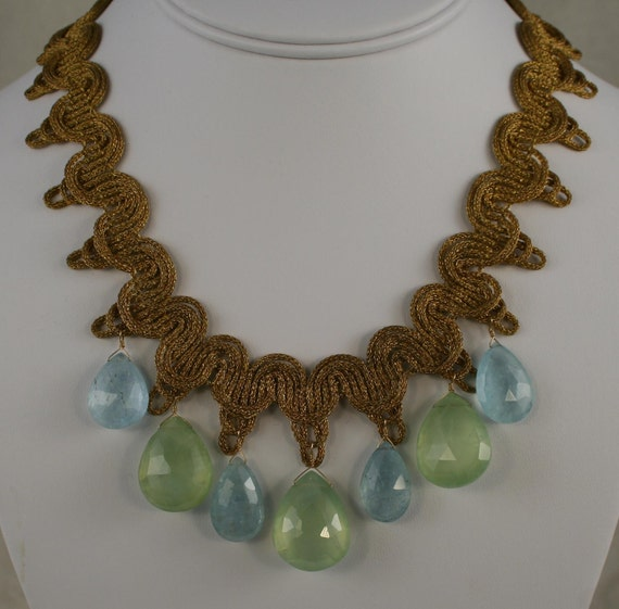 Cloudy Aquamarine and Green Prehnite Necklace  10907