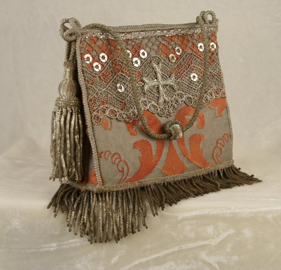 New handbag of 19th c. French handmade silver lace, cross applique and coil fringe on tomato red and metallic silver Fortuny fabric  6162