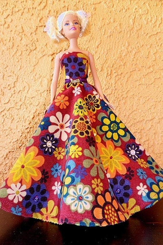 Barbie Gown - Burgundy Floral Gold Waist