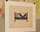Baby Crib Linocut Block Print