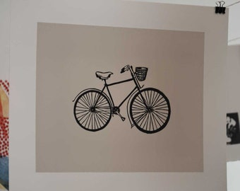 Bicycle Linocut Block Print