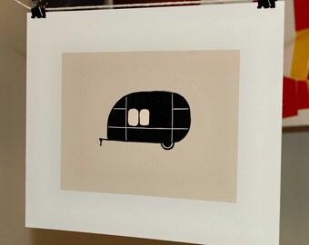 Retro Bullet Trailer Linocut Block Print