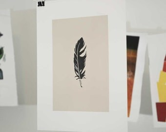 Feather Linocut Block Print
