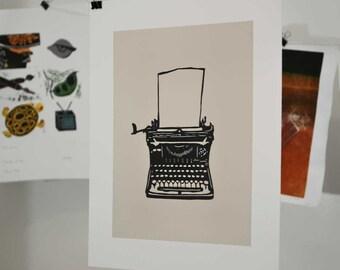 Vintage Antique Typewriter Linocut Block Print