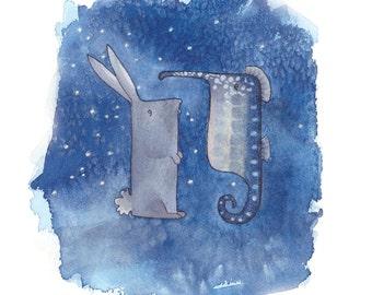 Seahorse & Rabbit Giclée Print