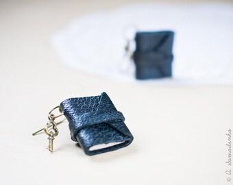 Tiny leather black book earrings - handmade jewelry