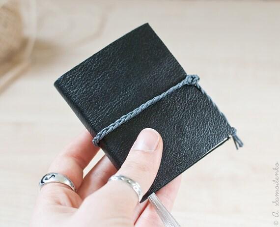 Black leather handmade notebook