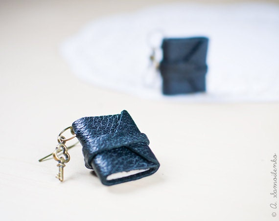 Tiny leather black book earrings - handmade jewelry