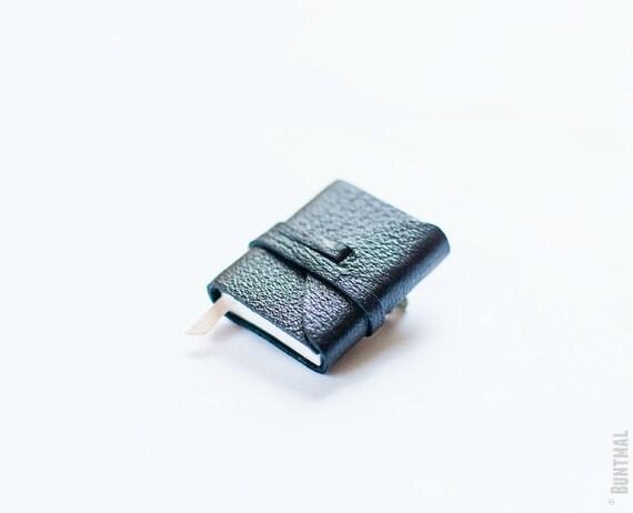 Tiny black book brooch - handmade jewelry