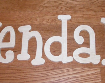 name set of 7 letters- 10 INCH  Wooden Unpainted Letters-Wood Letters-Wall Letters-Unfinished-Custom size available