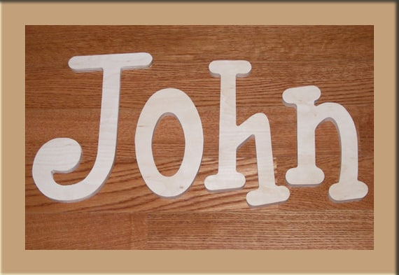 6 inch  Wooden Unpainted Letters-Wood Letters-Wall Letters-Unfinished-Custom size available