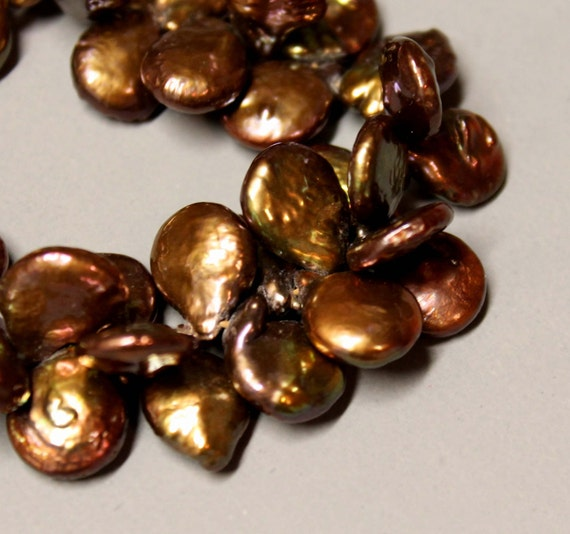 """CLEARANCE - FRESHWATER Pearls - 10mm - COINS Top Drilled - 8"""" strand - Chocolate Bronze - Ref 294"""