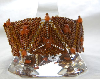 Pumpkin ... beadwoven bracelet santa fe aztec indian rugged desert warm fall pyramid geometric magical autumn rustic enchanted fairy fantasy