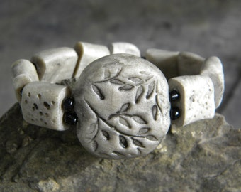 Stone ... bracelet polymer premo clay elastic stonehenge wicca wiccan witch rustic primitive nomad grey gray rubber stamp circle avalon