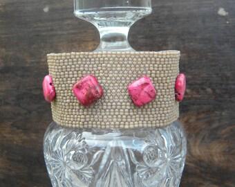 Nomad ... beadwoven bracelet cuff safari african queen aqua terra jasper chakra crystal healing yin yang tribal khaki sand beige tan peyote