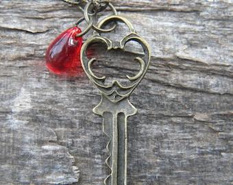 Locked ... key necklace pendant secret keeper favorite things keepsake mystery red scarlet ruby crimson drop