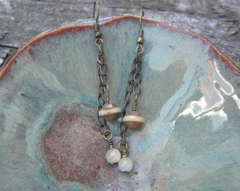 Buttery ... calcite earrings dangle bohemian gypsy enchanted faerie princess purifying lothlorien moon beam peace rustic