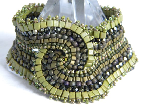 Intertwined in Olive ... beadwoven bracelet cuff bold wide chunky moss green earth pagen enchanting faerie natural earthy gold