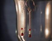 Delicate Garnet and Sterling Silver Earrings