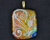 "fused glass pendant white flower on dichroic glass.  ""Spring has Sprung"""
