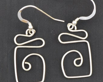 Sterling Silver wire dangle earrings. Petite geometrics.