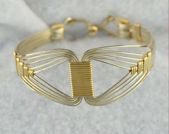 Sterling silver EGYPTIAN wire wrap bracelet.  14K gold filled accents