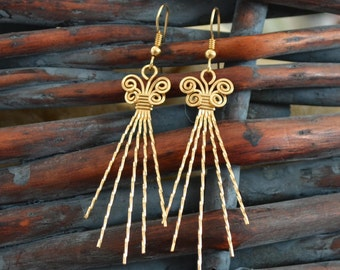 Long twisted earrings. 14K gold filled or sterling silver.  Elegant and handmade