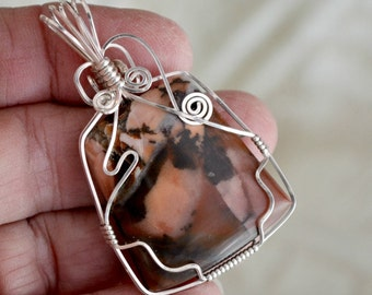 Wire wrapped Jasper stone pendant. sterling silver.  Pink brown black.