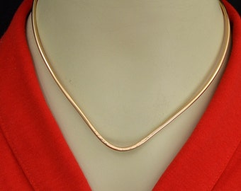 "14K Gold filled V necklace collar  Easy on  No clasp  Pendant slider.  Handmade. ""Neck hugger"""