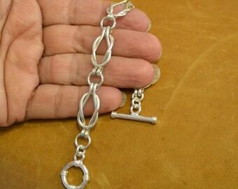 Love Knot  Sailors Knot Sterling Silver link bracelet. womens link bracelet