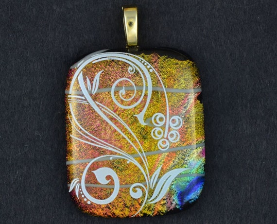 """fused glass pendant white flower on dichroic glass.  """"Spring has Sprung"""""""