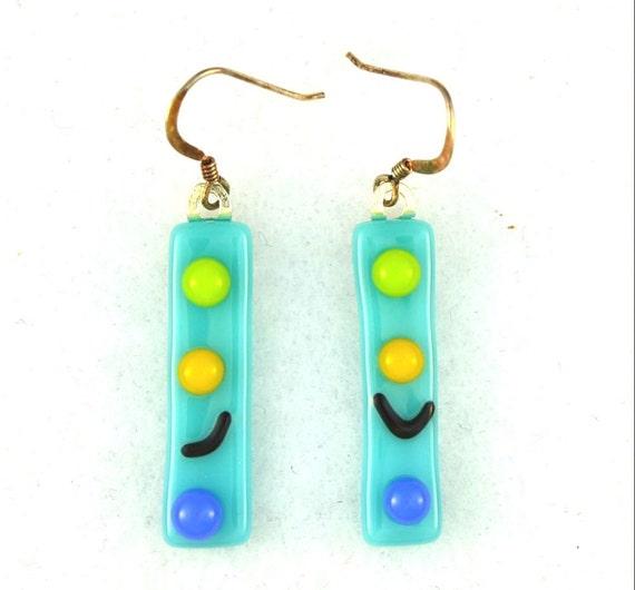 blue fused glass earrings.  925 sterling earwires ON SALE 20%
