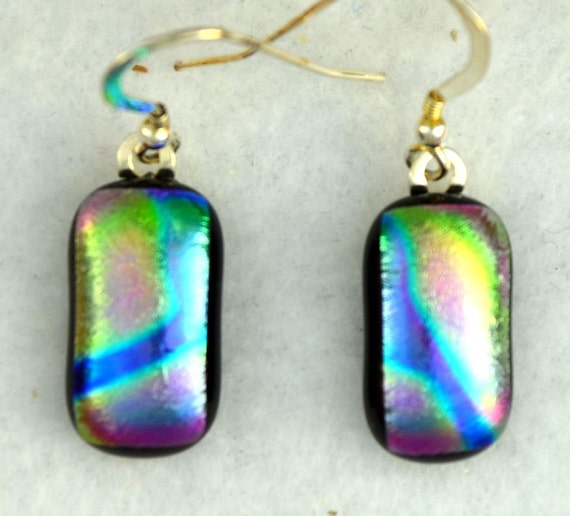 """Dichroic fused glass earrings.Blue Sterling earwires. """"Blue River"""" 20% SALE"""