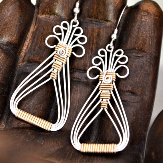 Egyptian wire wrapped earrings.  925 Sterling silver 14K gold filled accents.