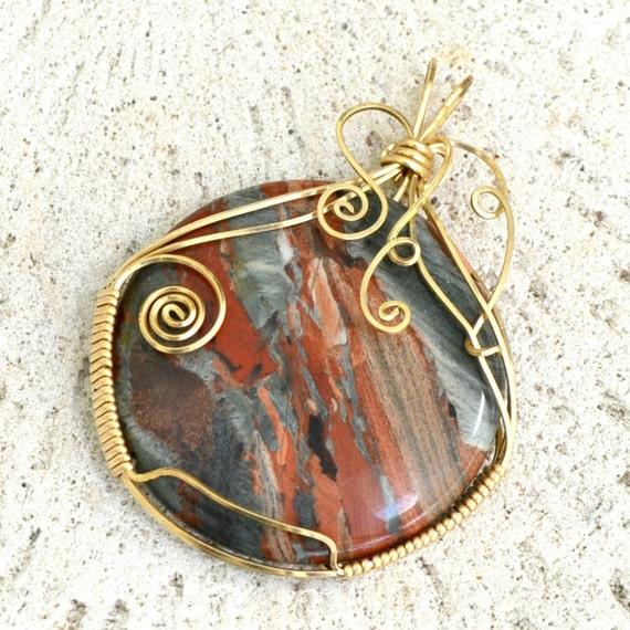 Confetti Jasper pendant wire wrapped stone 14K gold filled.