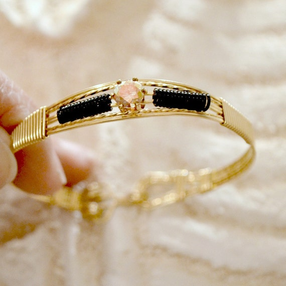 wire wrapped 14k gold filled bracelet with mystic Zeus CZ size small